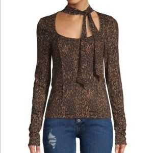 NWT Free People Leopard Wild Thing Long sleeve Top